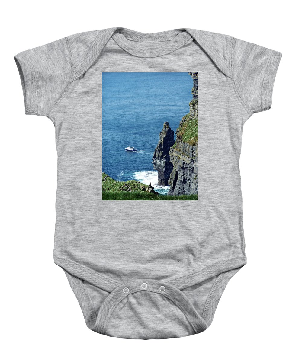 Irish Baby Onesie featuring the photograph The Stack And The Jack B Cliffs Of Moher Ireland by Teresa Mucha