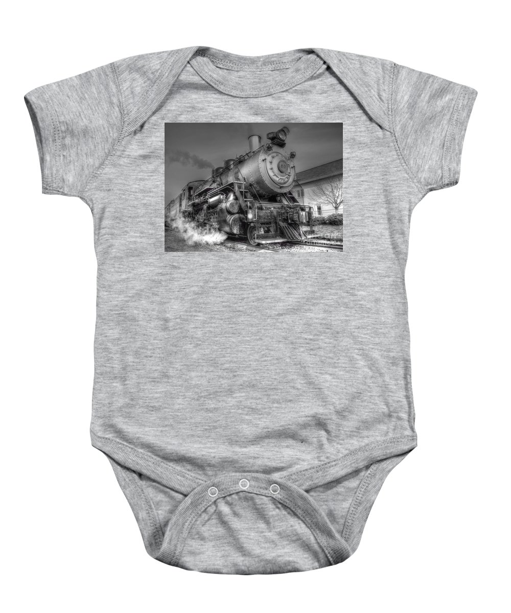Train Photography Baby Onesie featuring the photograph The Steam Engine by Jonathan Collins