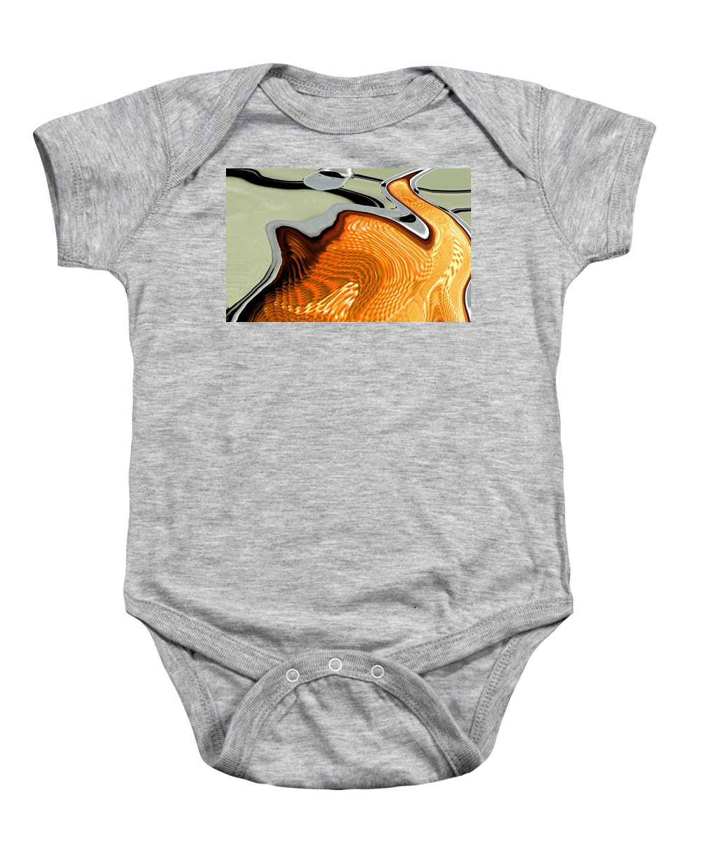 Abstract Baby Onesie featuring the digital art The Swan by Lenore Senior