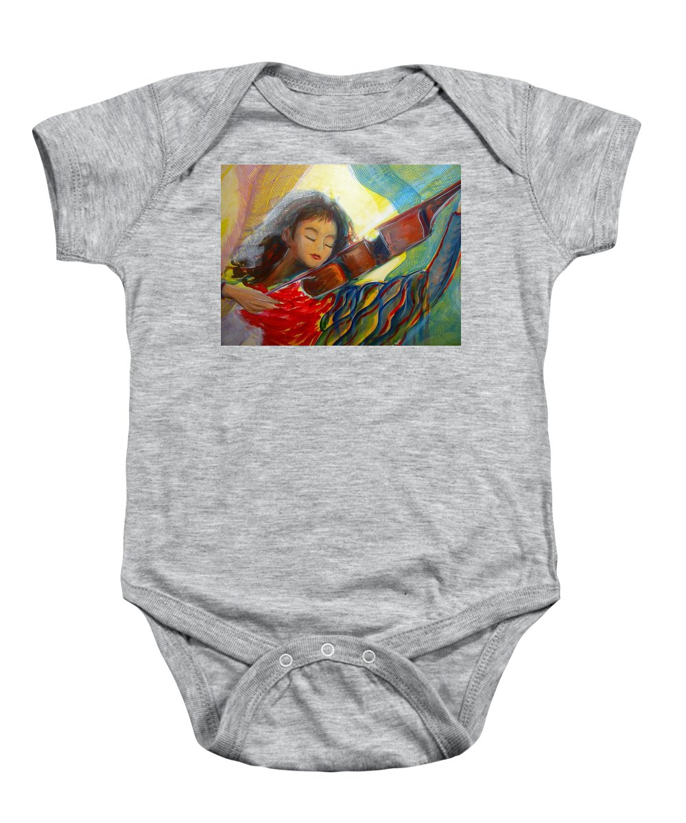 Violin Baby Onesie featuring the painting The Sweetest Sounds by Regina Walsh