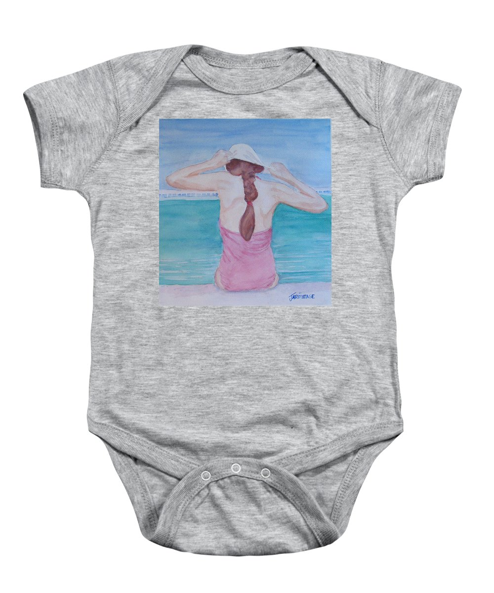 Girl Baby Onesie featuring the painting The Swim Cap by Jenny Armitage