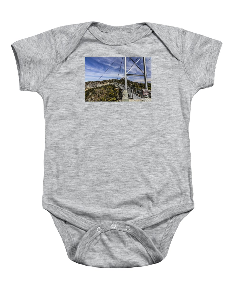 Grandfather Mountain Photography Baby Onesie featuring the photograph The Swinging Bridge Of Grandfather Mountain by Stephen Brown
