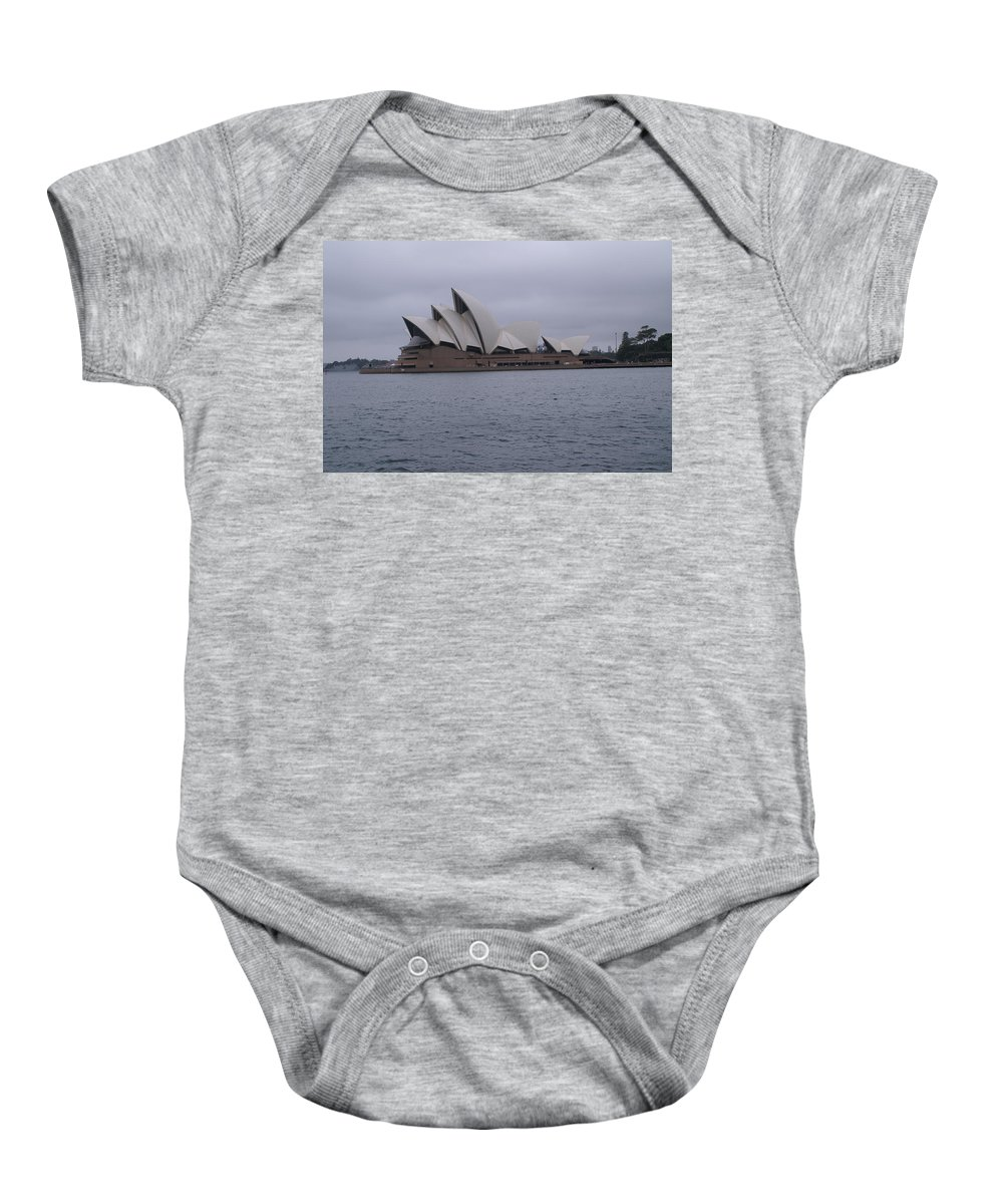 Photo Baby Onesie featuring the pyrography The Sydney Opera House by Brian Leverton