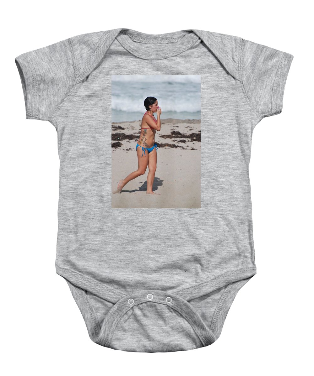 Sexy Baby Onesie featuring the photograph The Tattooed Lady by Rob Hans