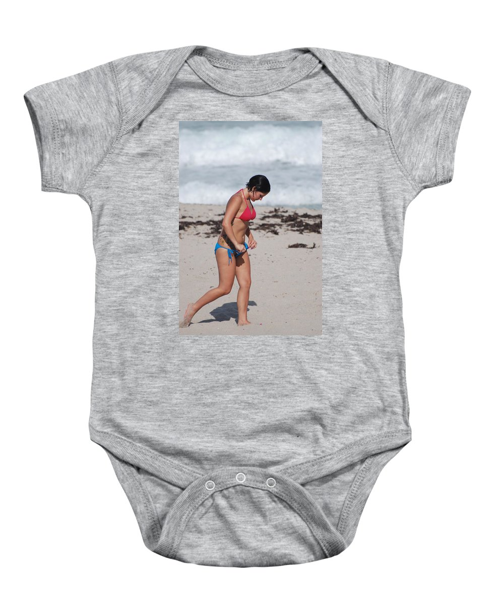 Sexy Baby Onesie featuring the photograph The Tattooed Ladys Peek A Boo by Rob Hans