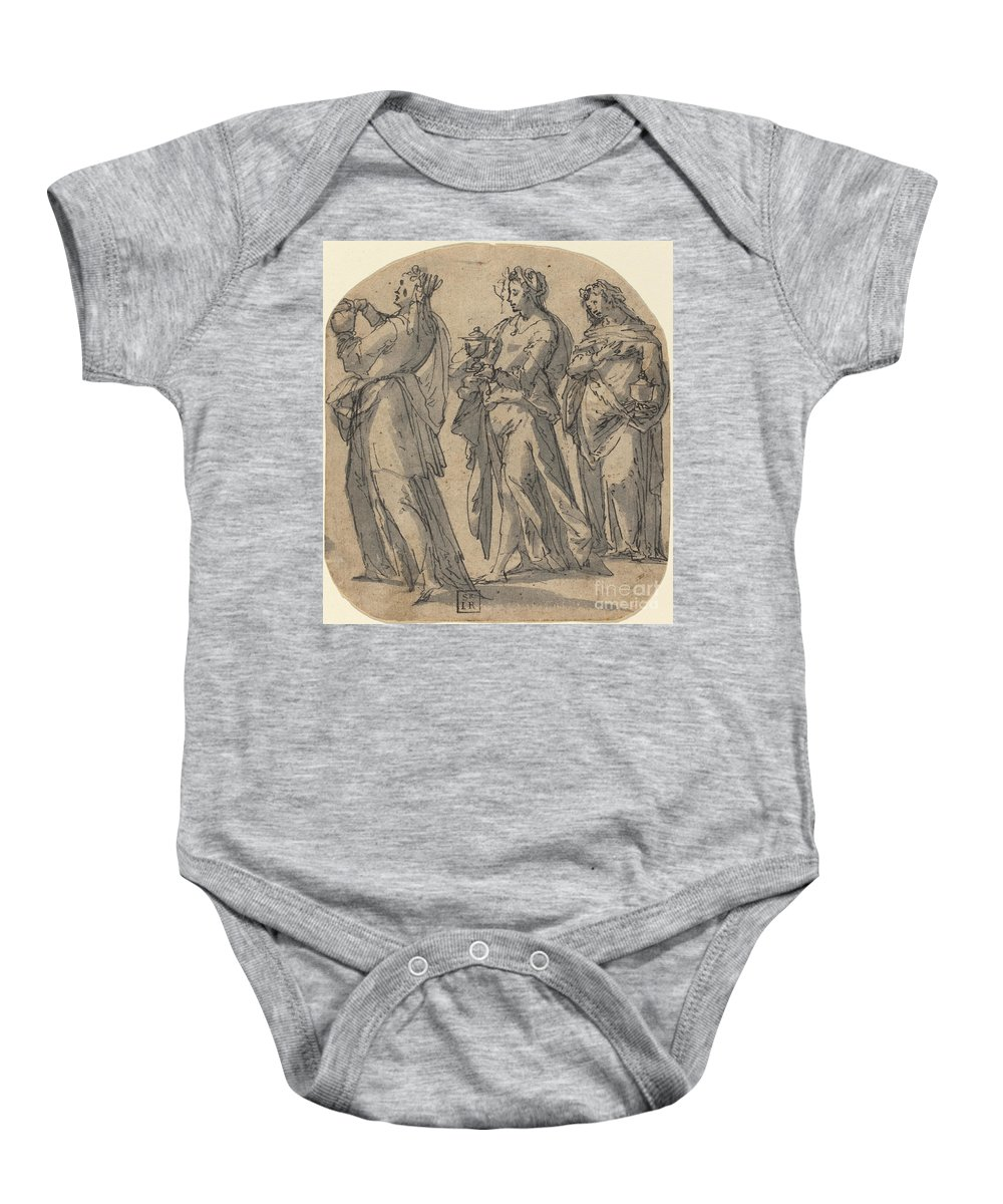 Baby Onesie featuring the drawing The Three Marys by Johann Willinges
