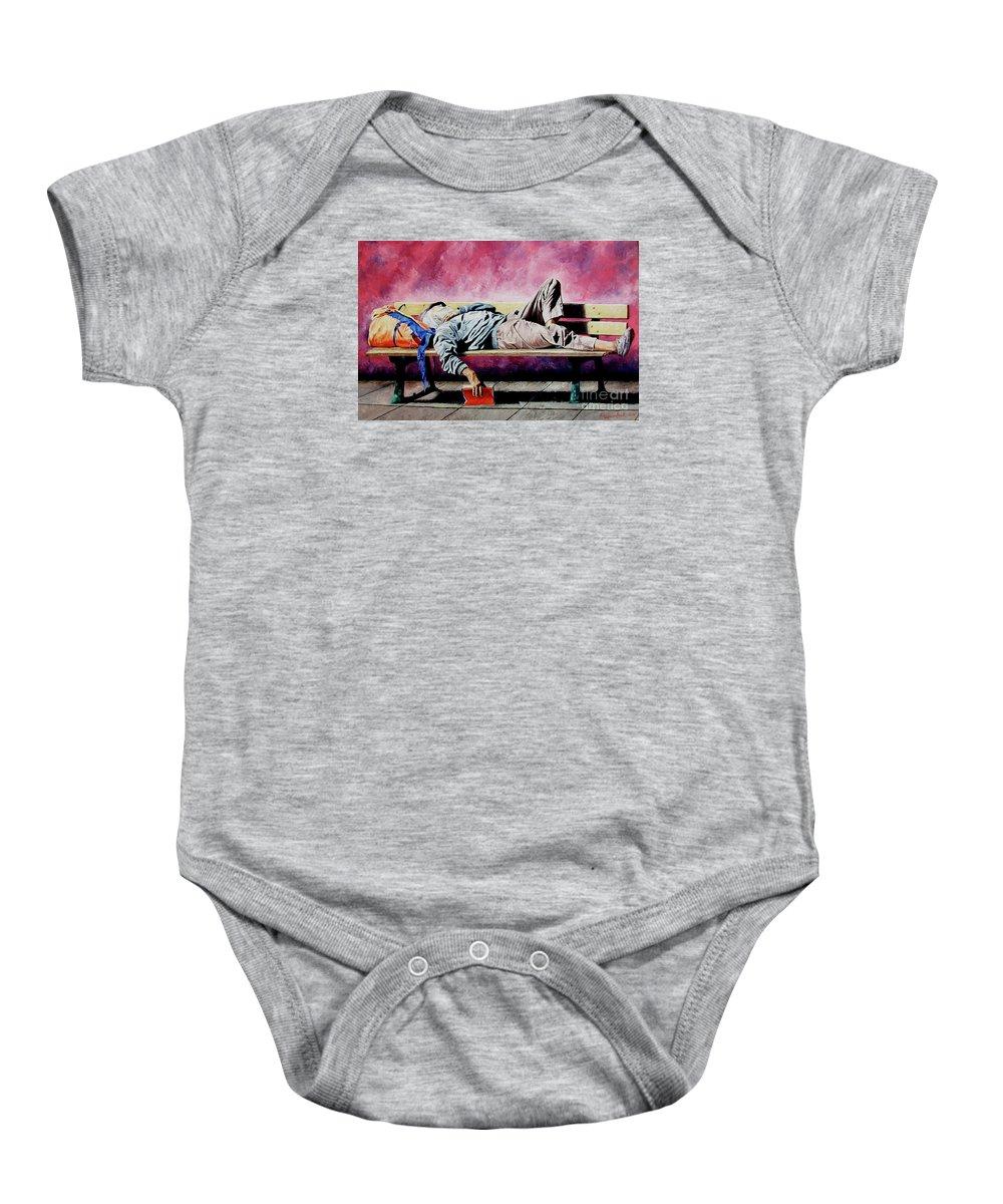 Figurative Baby Onesie featuring the painting The Traveler 1 - El Viajero 1 by Rezzan Erguvan-Onal