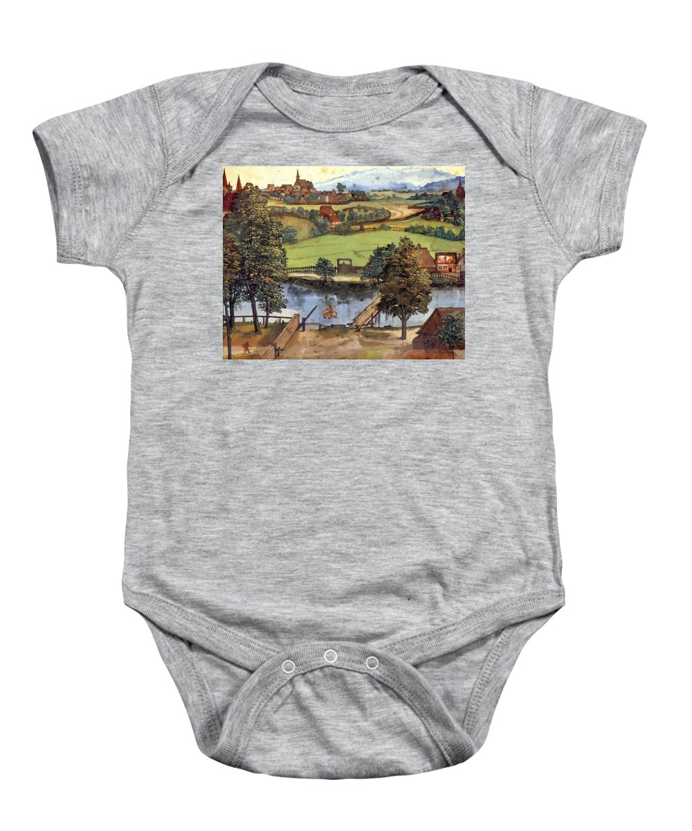 The Baby Onesie featuring the painting The Trefilerada On Peignitz by Durer Albrecht