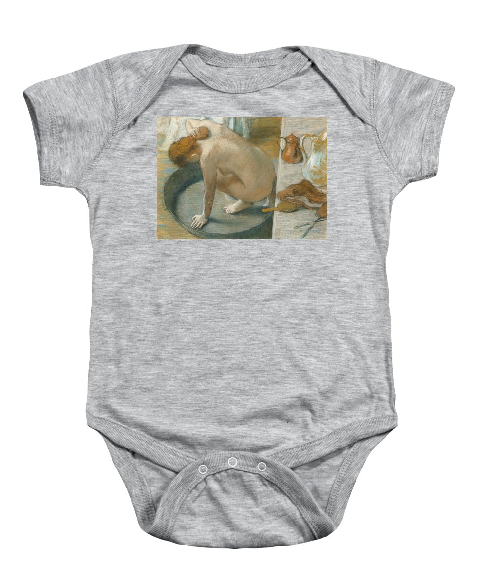 Tub Baby Onesie featuring the pastel The Tub by Edgar Degas