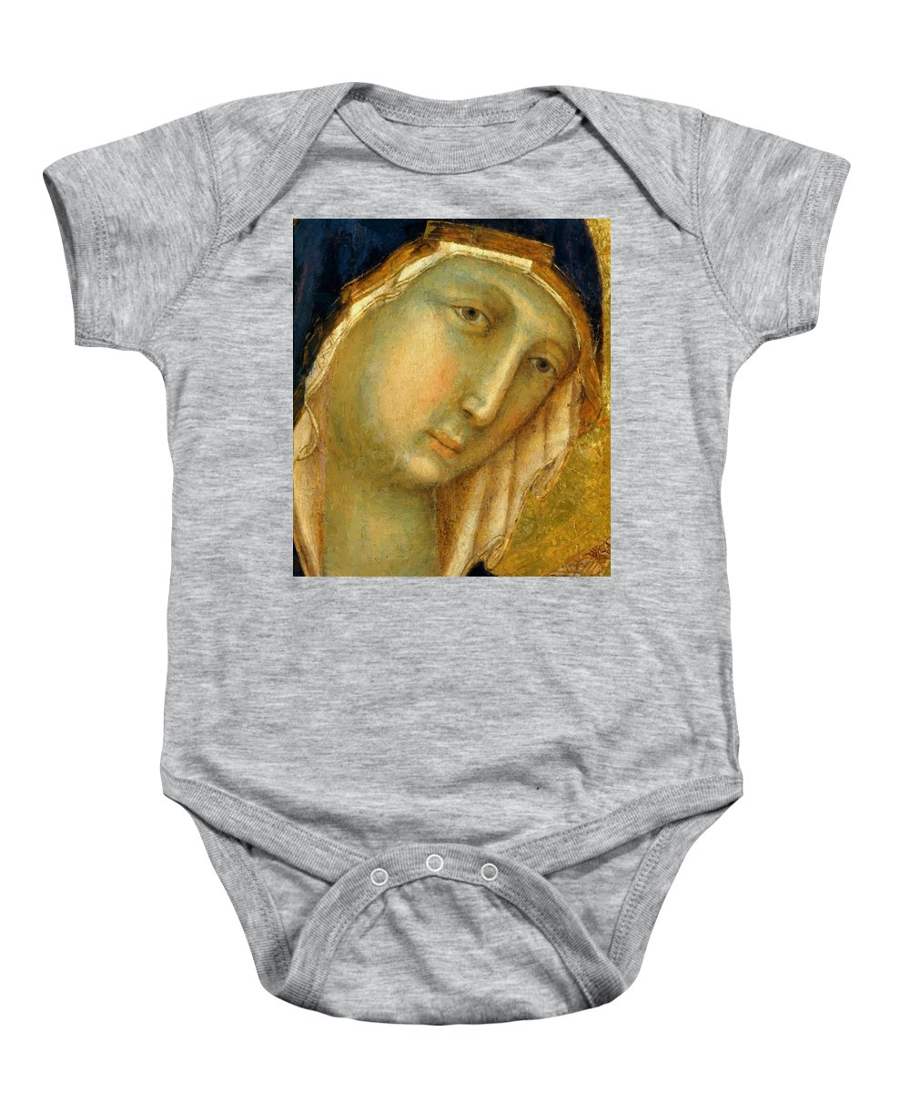 The Baby Onesie featuring the painting The Virgin And Child On A Throne Fragment 1311 by Duccio