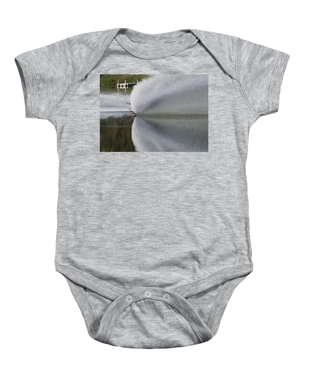 Waterskiing Baby Onesie featuring the photograph The Water Skier by Steven Natanson