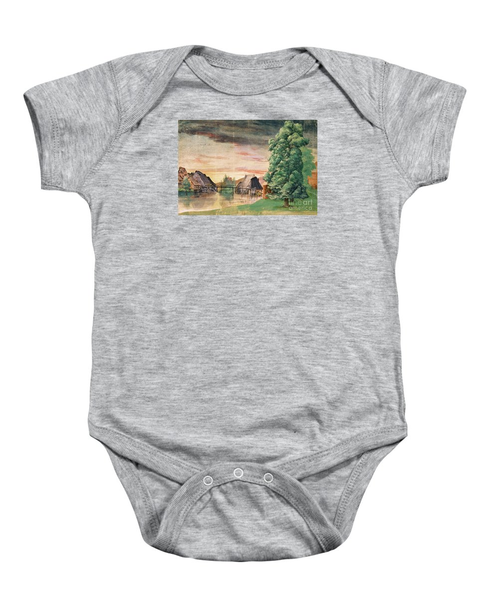 Albrecht Durer Baby Onesie featuring the painting The Watermill by MotionAge Designs