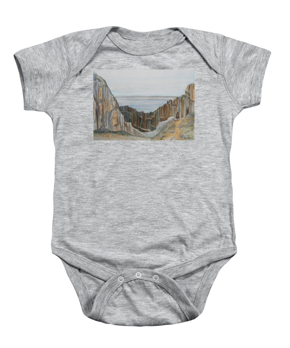 Ocean Baby Onesie featuring the painting The Whale Watchers At Elephant Rock by Jenny Armitage