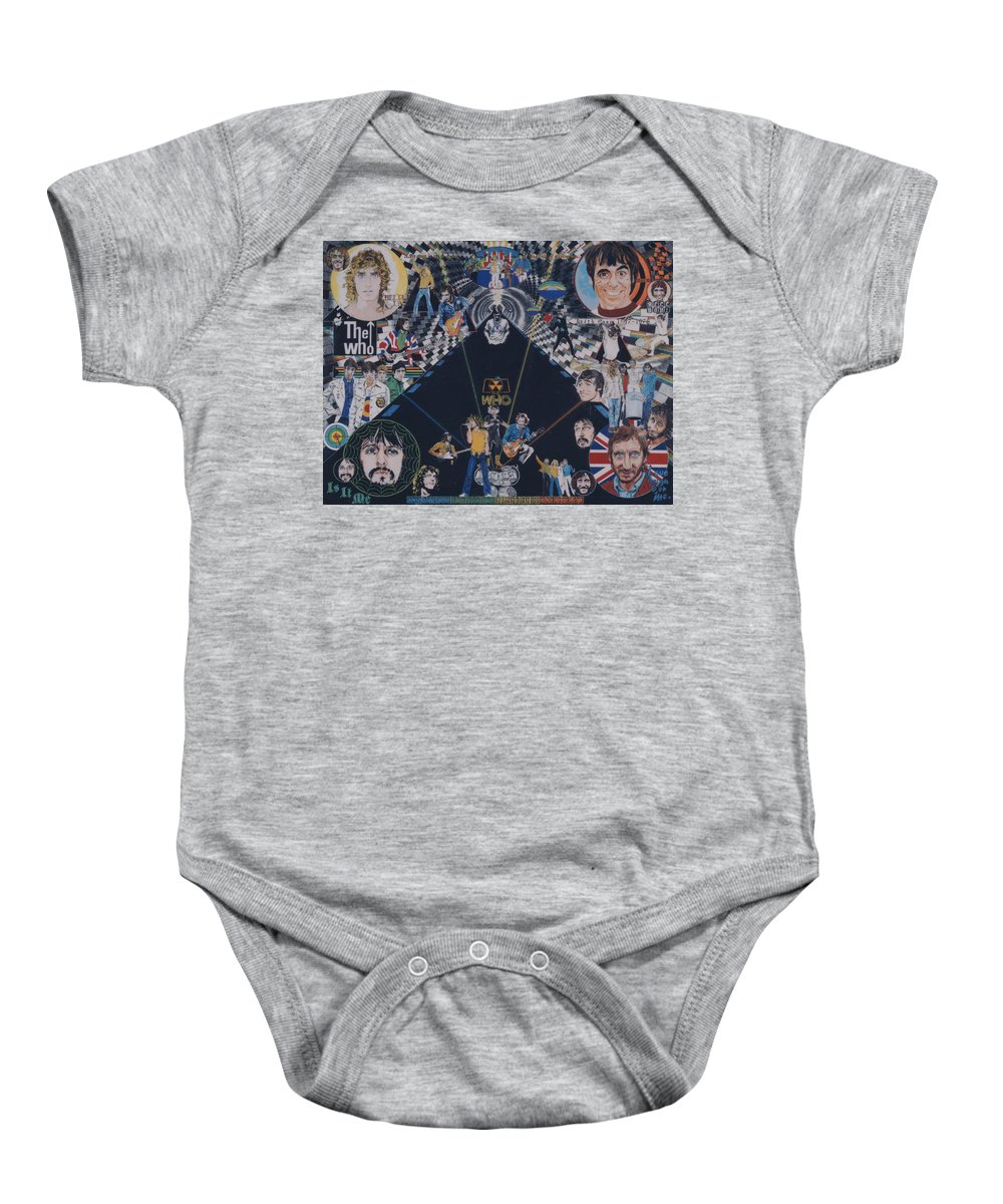 Pete Townshend;roger Daltrey;john Entwistle;keith Moon;quadrophenia;opera;story;four;music;guitars;lasers;mods;rockers;london;brighton;1964 Baby Onesie featuring the drawing The Who - Quadrophenia by Sean Connolly