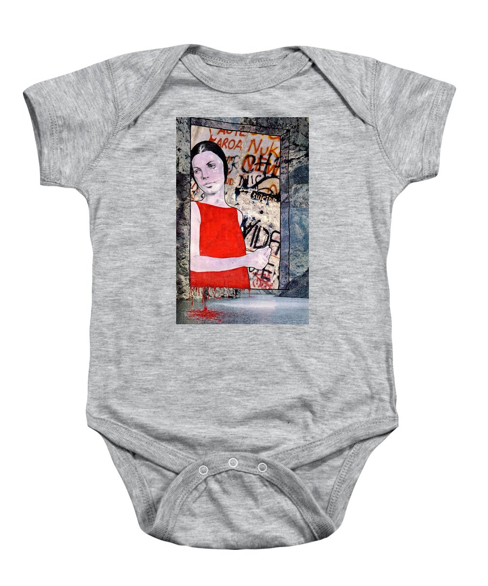 Woman Window Wall Water Blood Life Baby Onesie featuring the mixed media The Window by Veronica Jackson