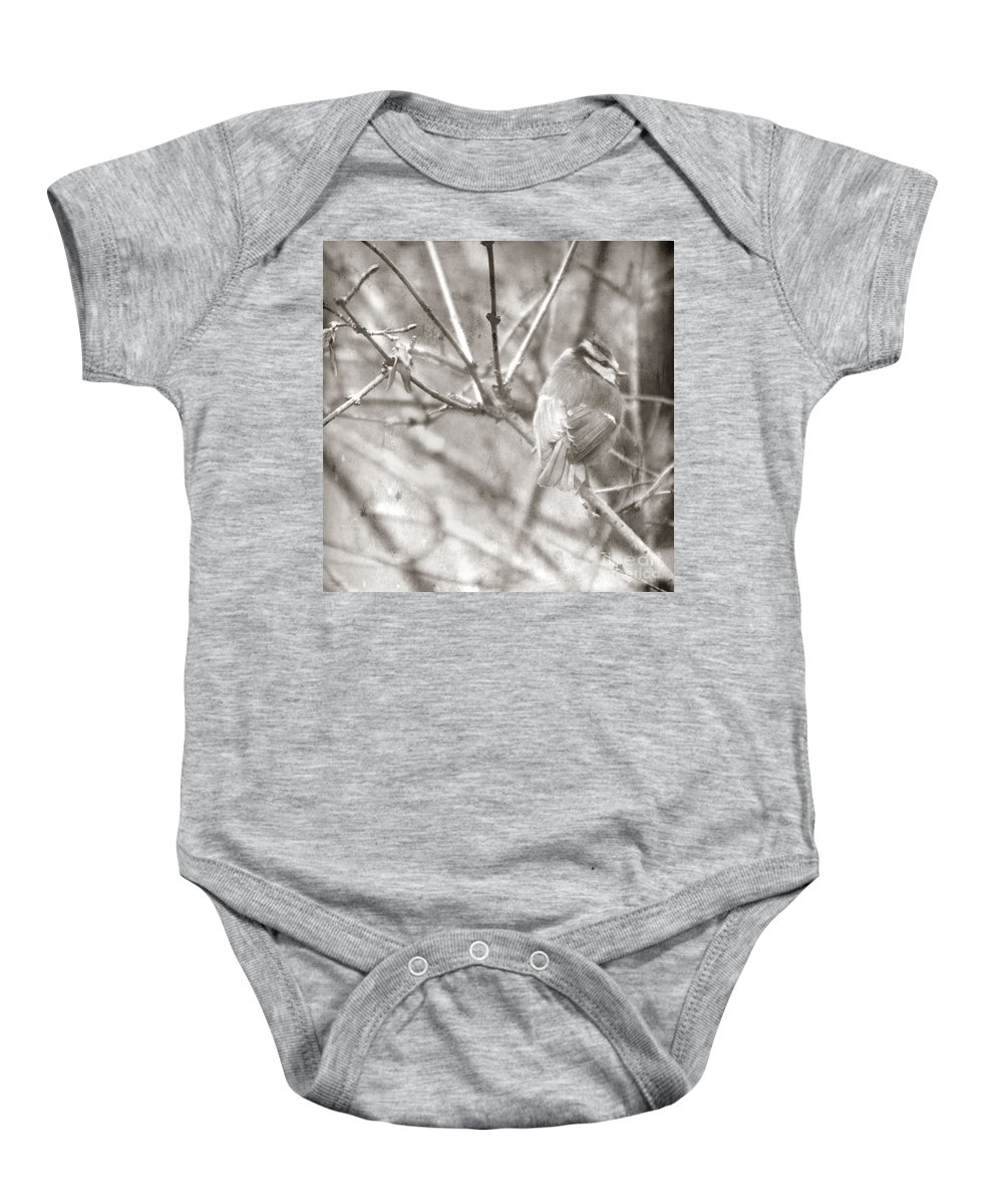 Blue Tit Baby Onesie featuring the photograph The Winter Time by Angel Ciesniarska