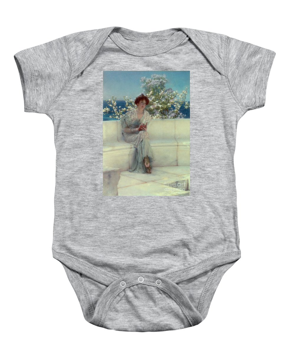The Baby Onesie featuring the painting The Year's At The Spring - All's Right With The World by Sir Lawrence Alma-Tadema