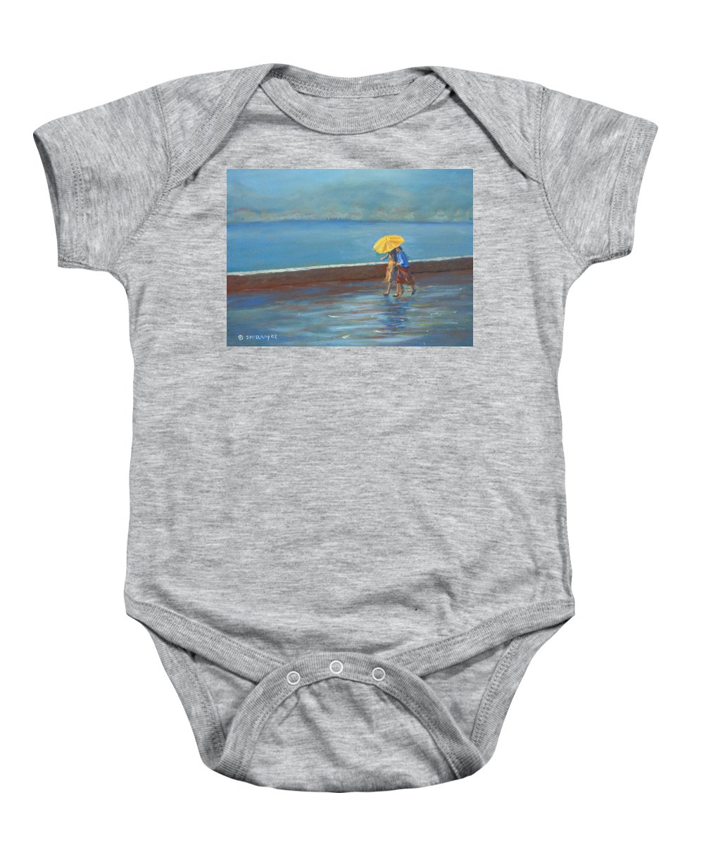 Rain Baby Onesie featuring the painting The Yellow Umbrella by Jerry McElroy