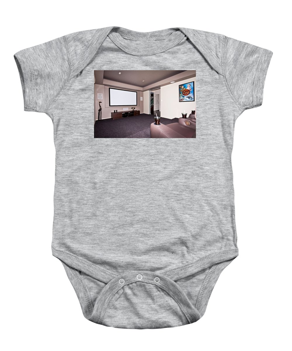 Cinema Baby Onesie featuring the photograph Theatre Room by Darren Burton