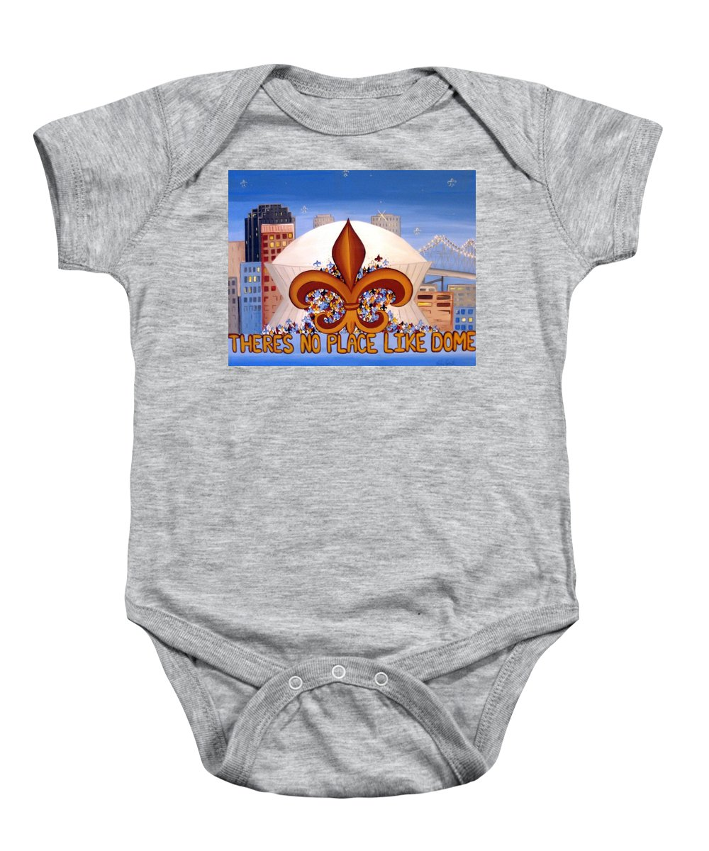 Superdome Baby Onesie featuring the painting There's No Place Like Dome by Valerie Carpenter