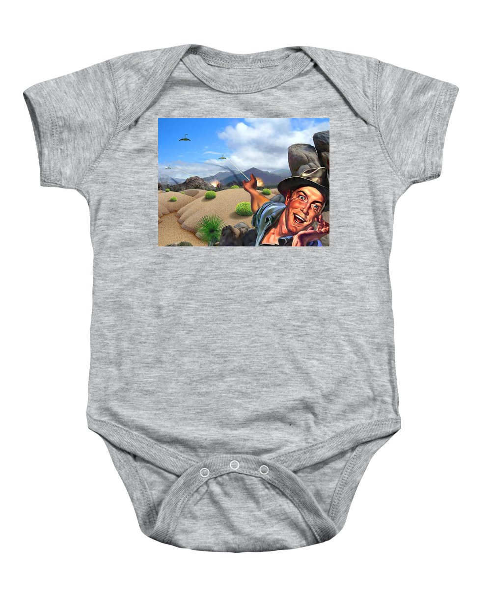 Landscape Baby Onesie featuring the digital art They're Here by Snake Jagger