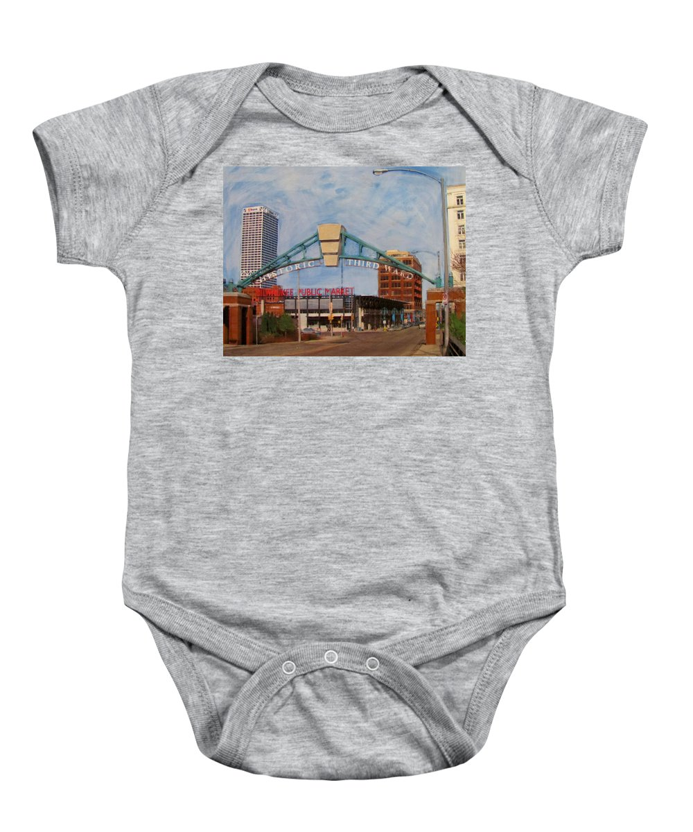 Milwaukee Baby Onesie featuring the mixed media Third Ward Arch Over Public Market by Anita Burgermeister