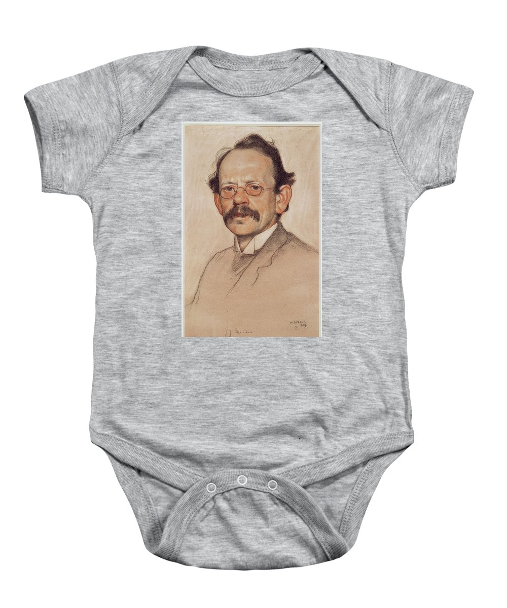 William Strang (1859-1921) Sir J.j. Thomson Baby Onesie featuring the painting Thomson by William Strang