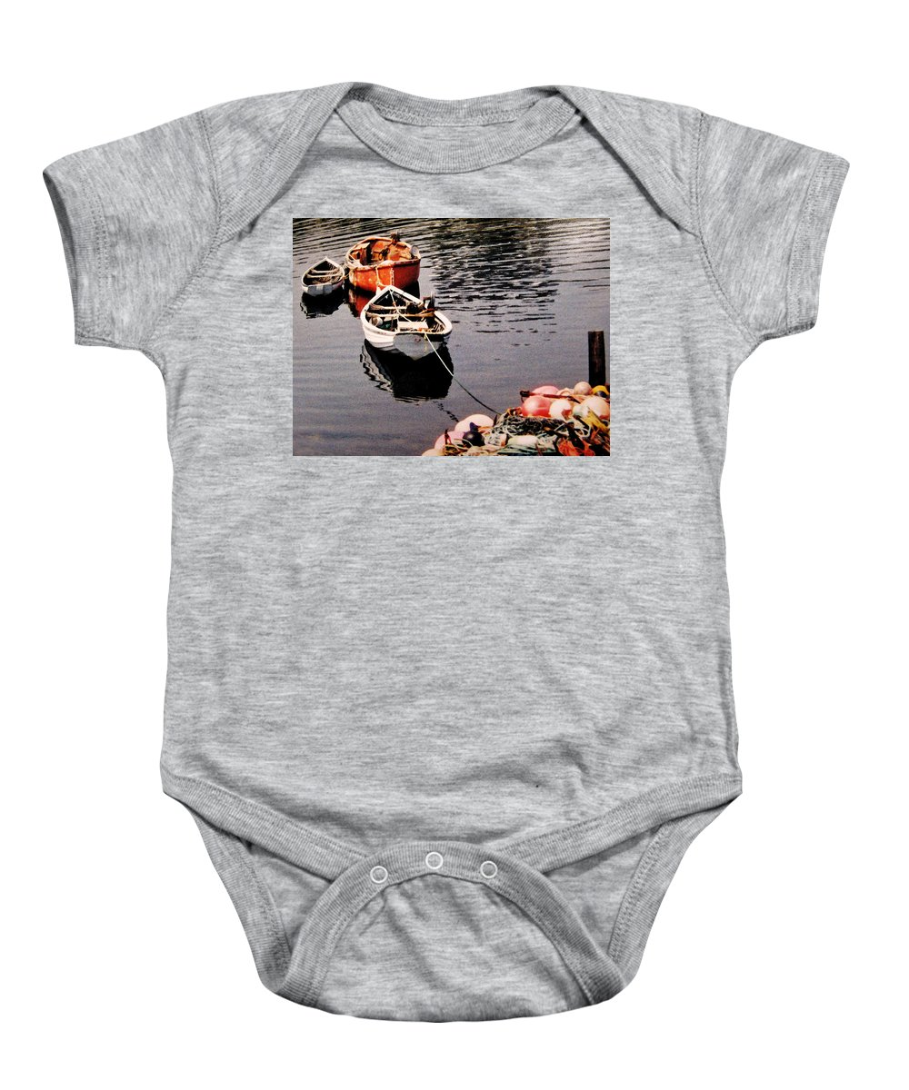 Boats Baby Onesie featuring the photograph Three Boats Waiting by Ian MacDonald
