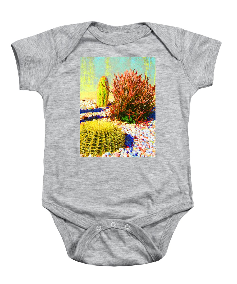 Landscape Baby Onesie featuring the painting Three Cacti by Amy Vangsgard