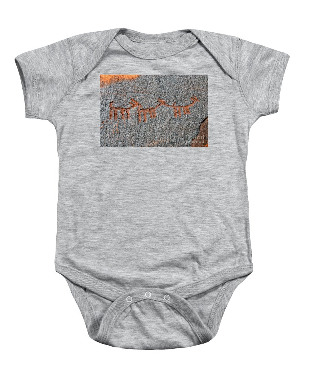 Petroglyphs Baby Onesie featuring the photograph Three Deer by David Lee Thompson