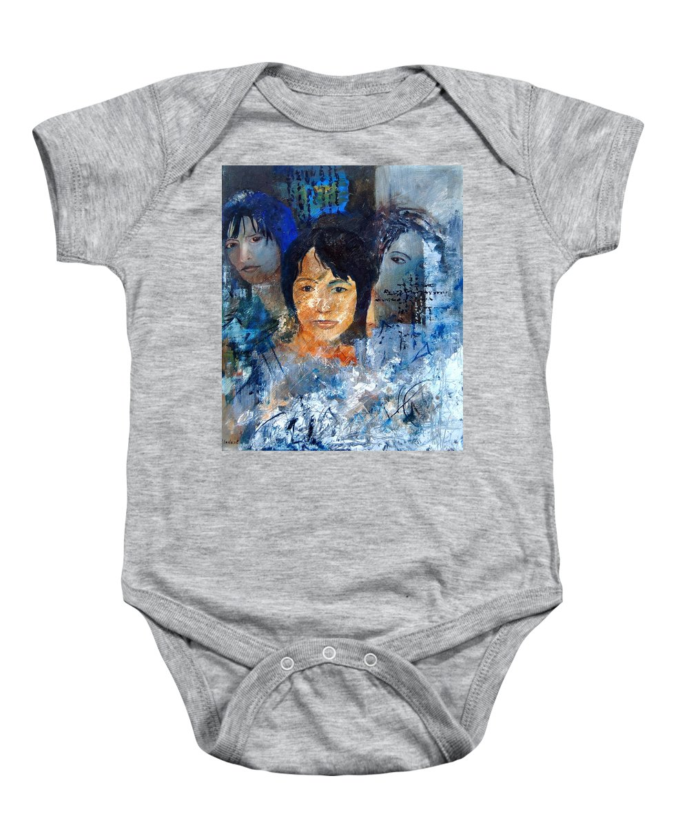 Girl Baby Onesie featuring the painting Three Faces by Pol Ledent