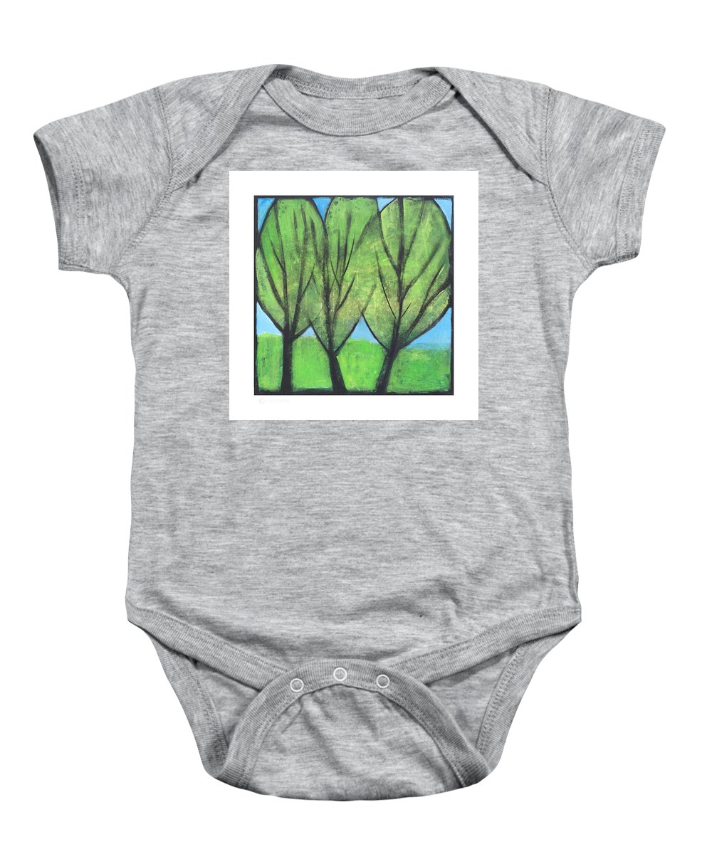 Trees Baby Onesie featuring the painting Three Sisters by Tim Nyberg