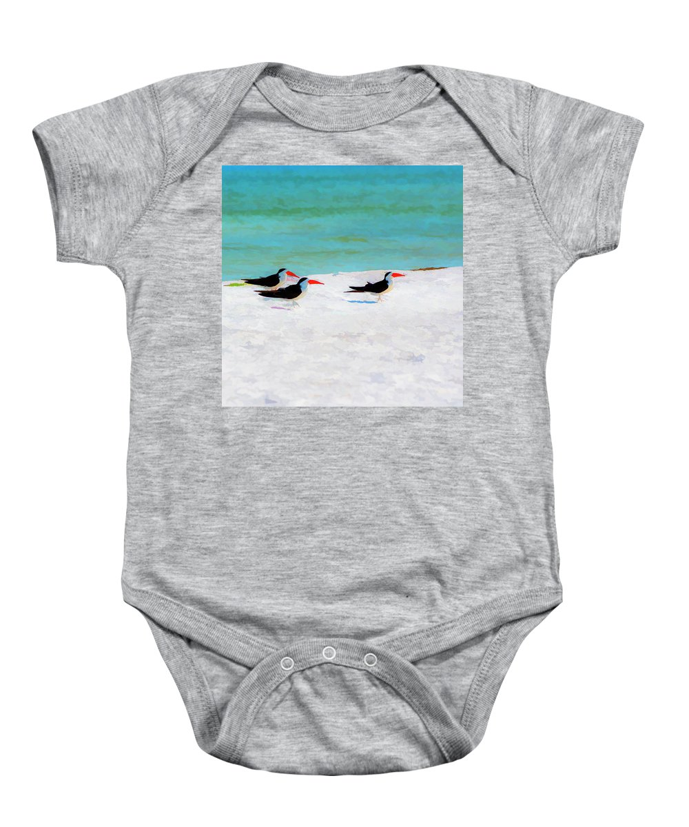 Coastal Baby Onesie featuring the photograph Three Skimmers by Marvin Spates