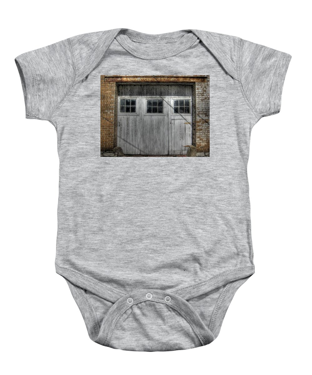 Windows Baby Onesie featuring the photograph Three Windows Make A Door by Jane Linders