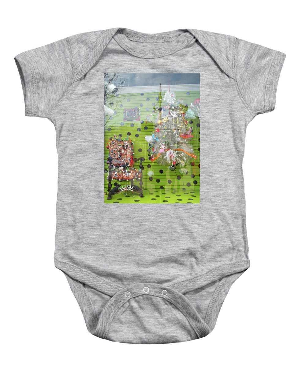 Big Fun Window Display Baby Onesie featuring the photograph Throne For The Queen Of Kitsch At Big Fun Cleveland by Anne Cameron Cutri