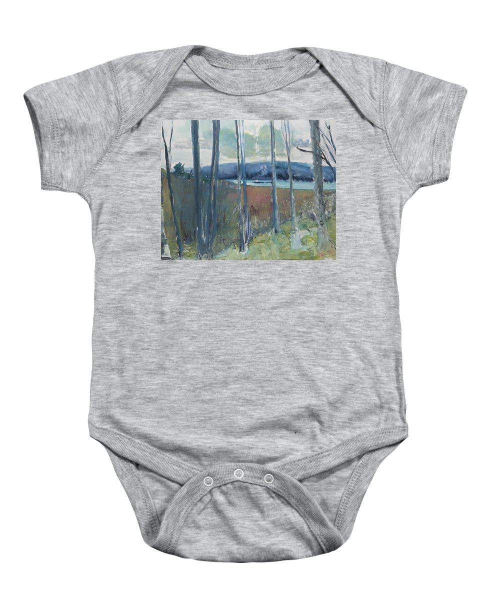 Landscape Baby Onesie featuring the painting Through The Woods by Craig Newland