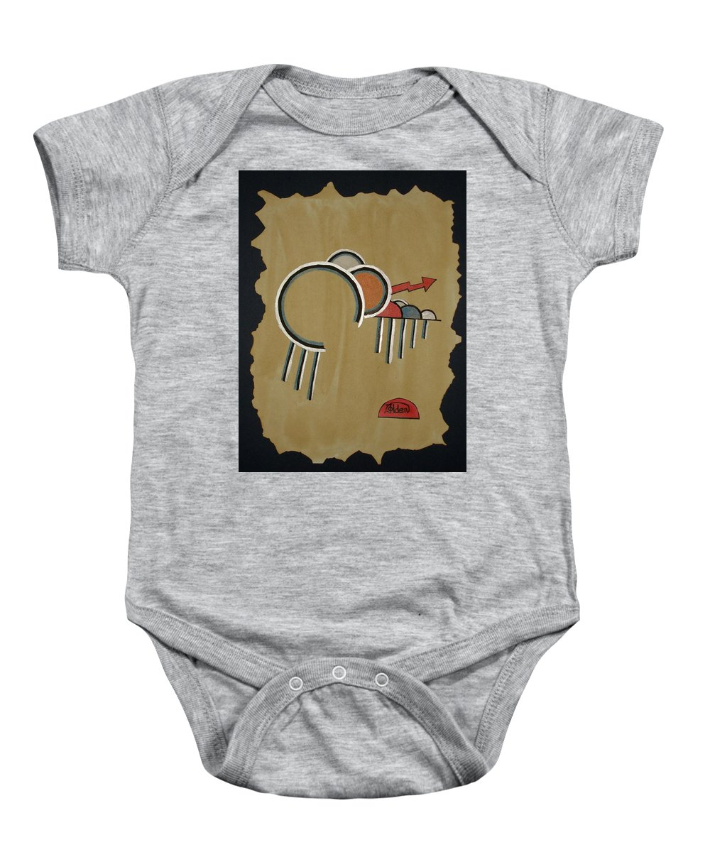 Design Baby Onesie featuring the mixed media Thunderbeings by Jo Hoden