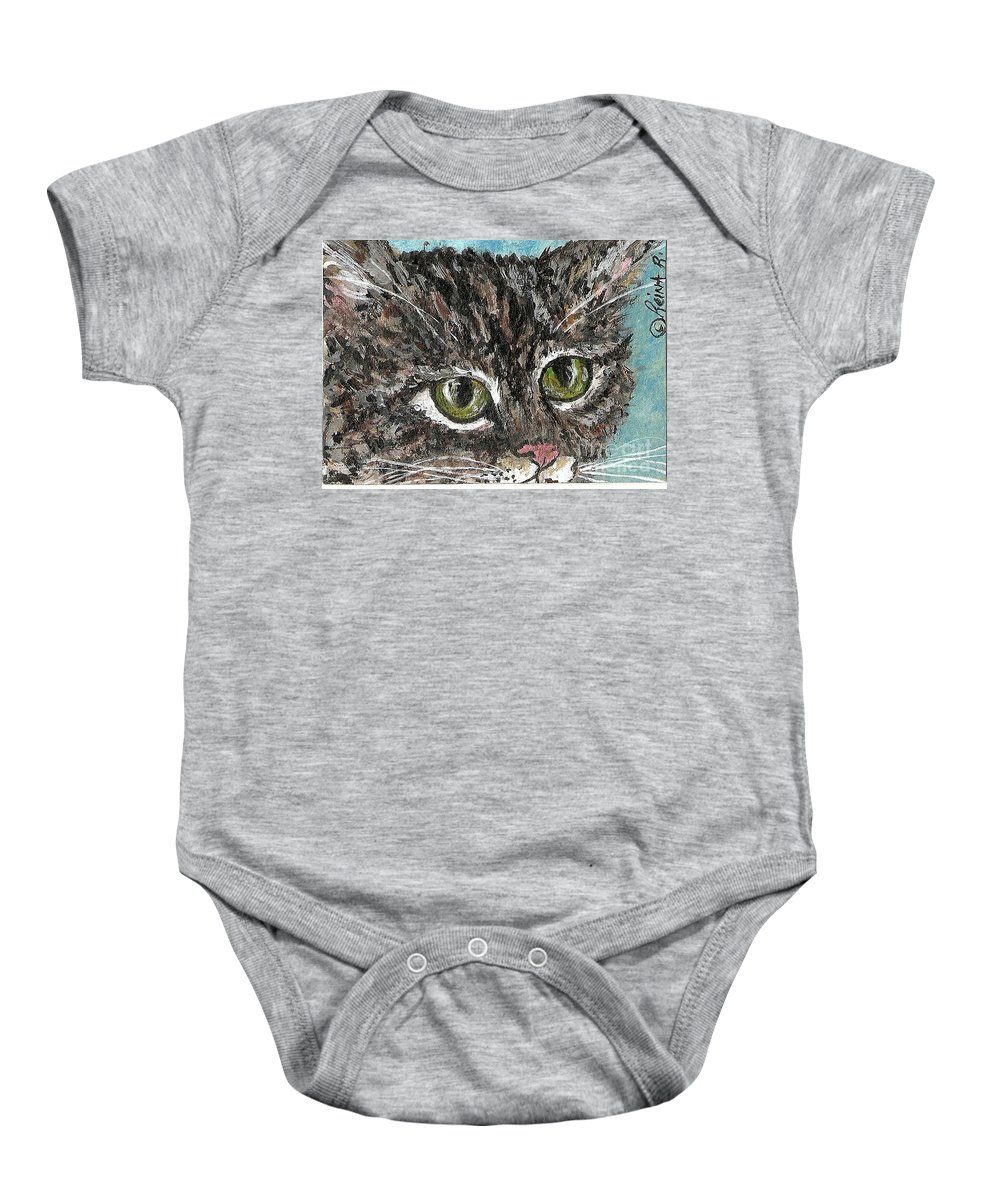Cats Baby Onesie featuring the painting Tiger Cat by Reina Resto