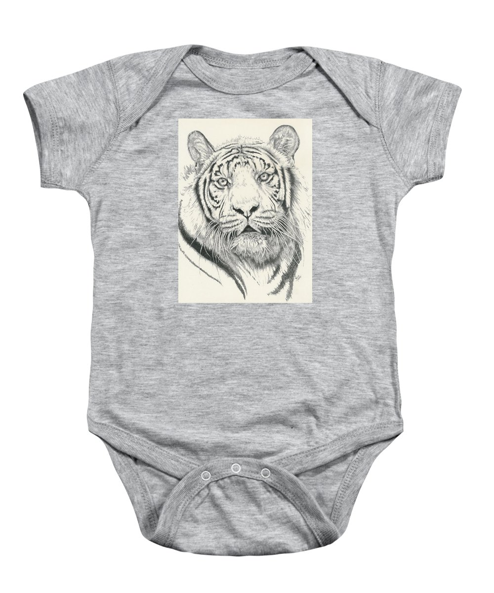 Tiger Baby Onesie featuring the drawing Tigerlily by Barbara Keith
