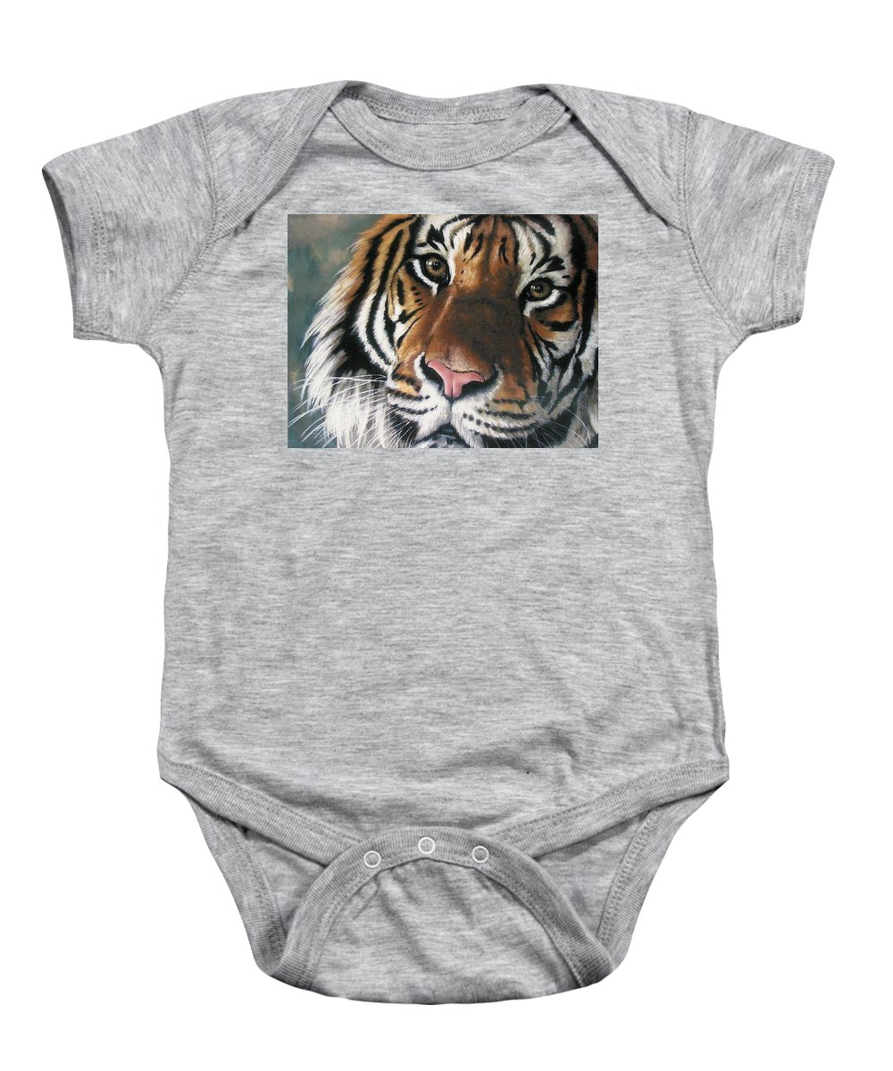 Tiger Baby Onesie featuring the pastel Tigger by Barbara Keith