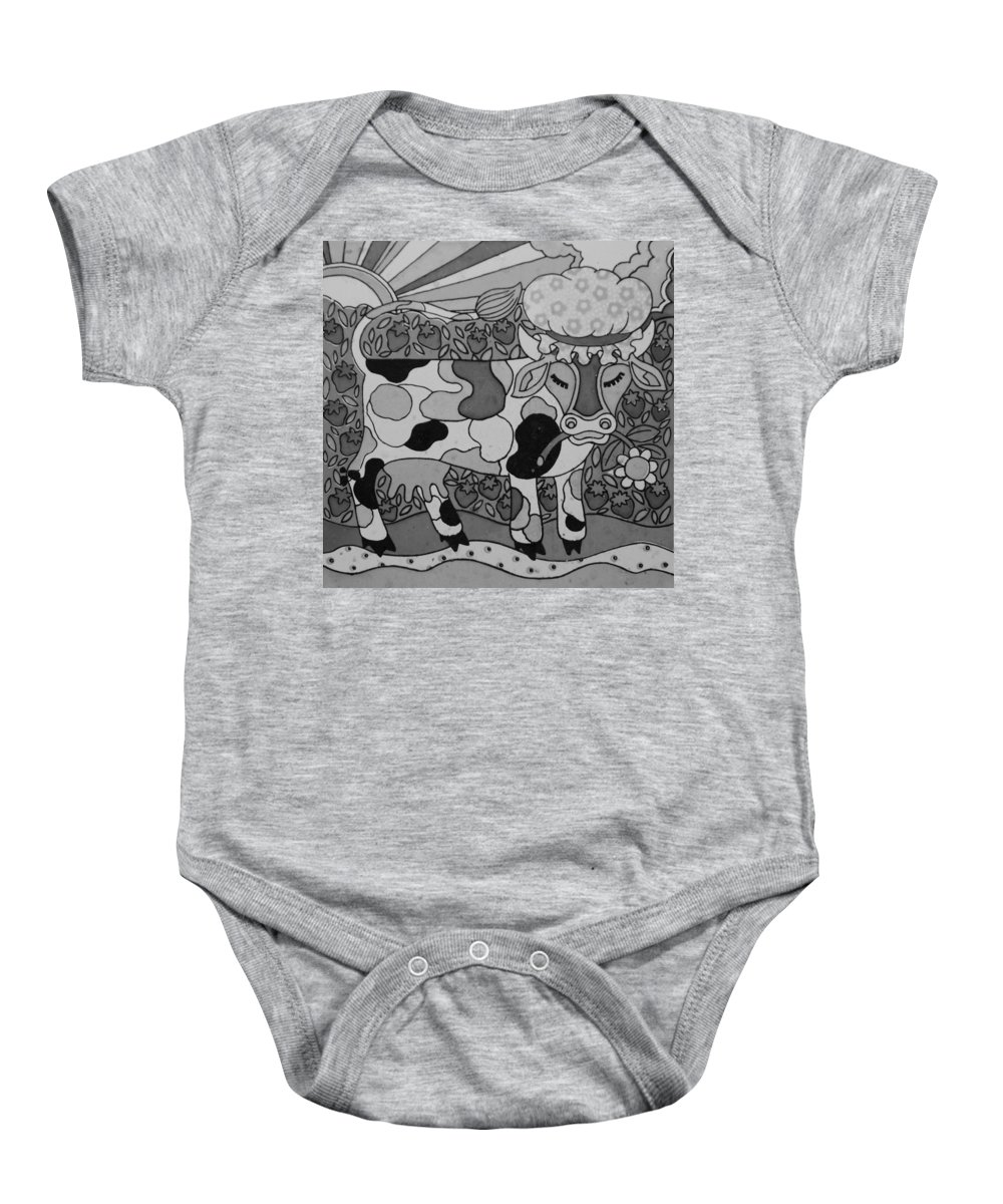 Pop Art Baby Onesie featuring the photograph Tile Cow by Rob Hans