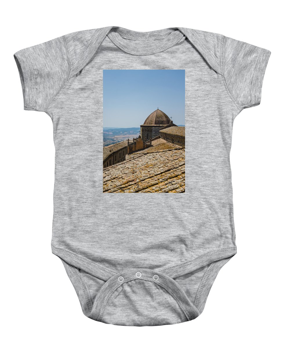 Volterra Baby Onesie featuring the photograph Tile Roof Tops Of Volterra Italy by Edward Fielding