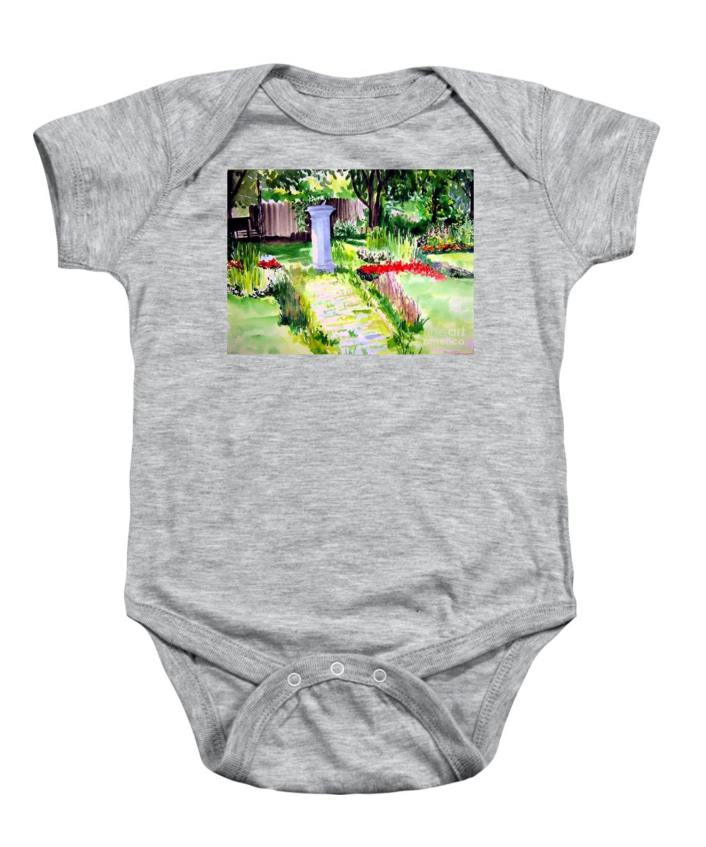 Park Baby Onesie featuring the painting Time In A Garden by Sandy Ryan
