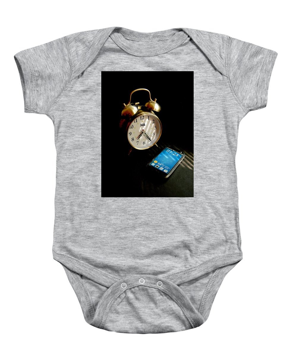 Clock Baby Onesie featuring the photograph Time Then And Now by Noel Hankamer