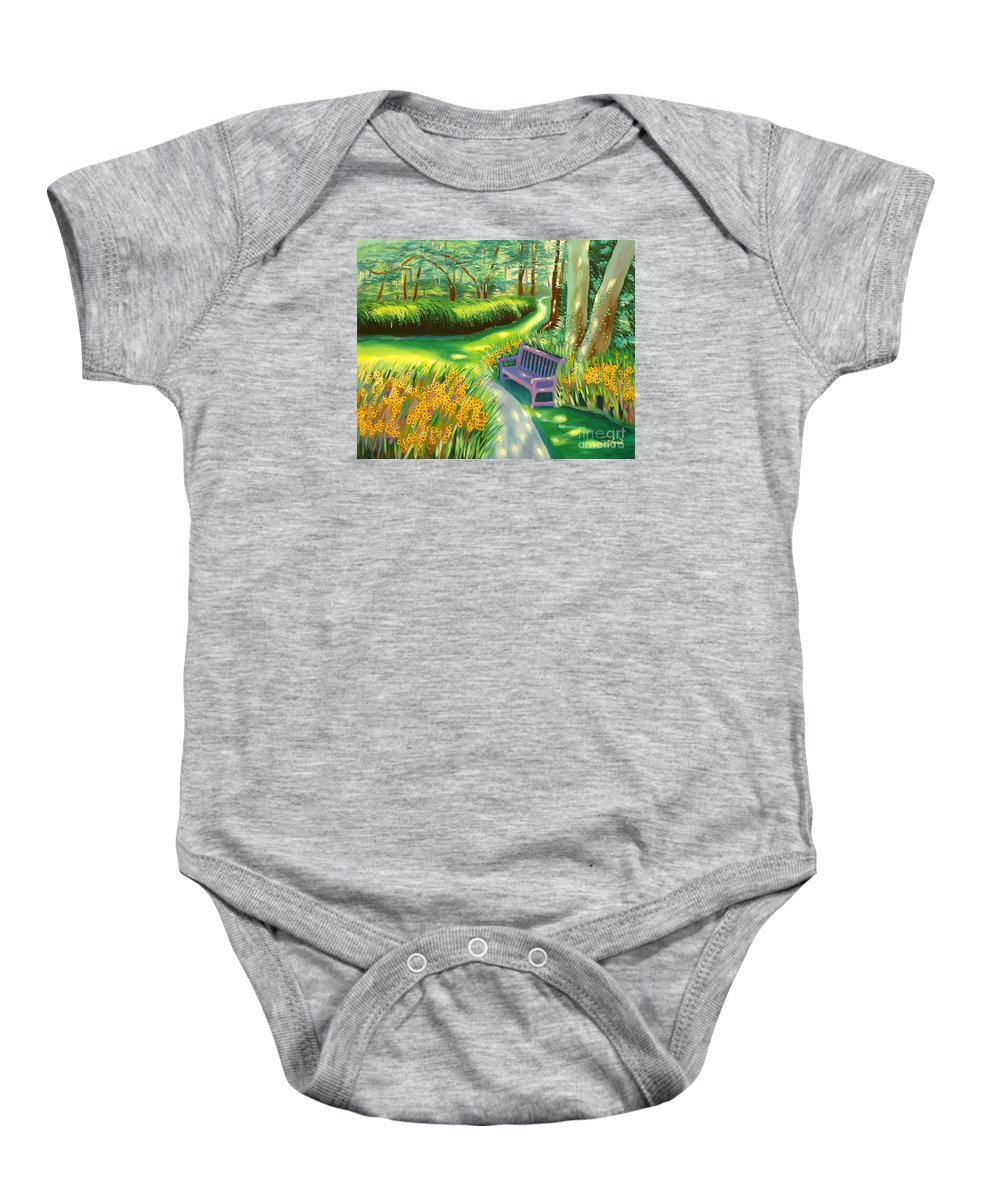 Landscape Baby Onesie featuring the painting Time To Break by Milagros Palmieri