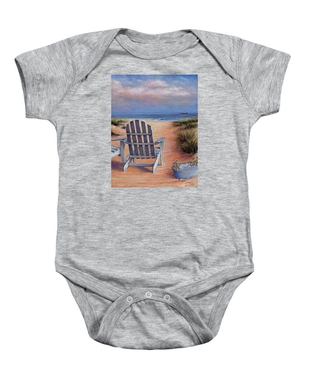 Landscape Baby Onesie featuring the pastel Time To Chill by Susan Jenkins
