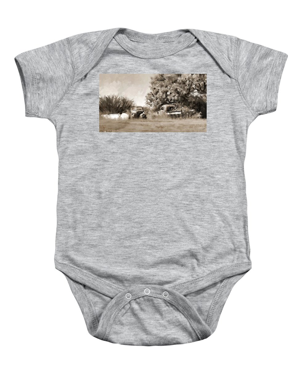 Timeworn Baby Onesie featuring the painting Timeworn by Susan Kinney