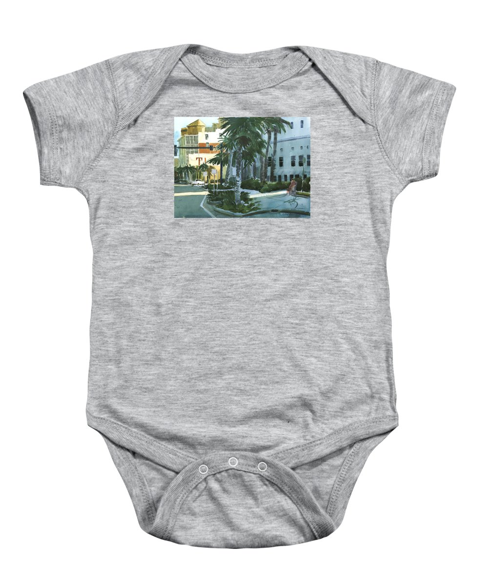 Landscape Baby Onesie featuring the painting Tinson's Corner by Thomas Tribby