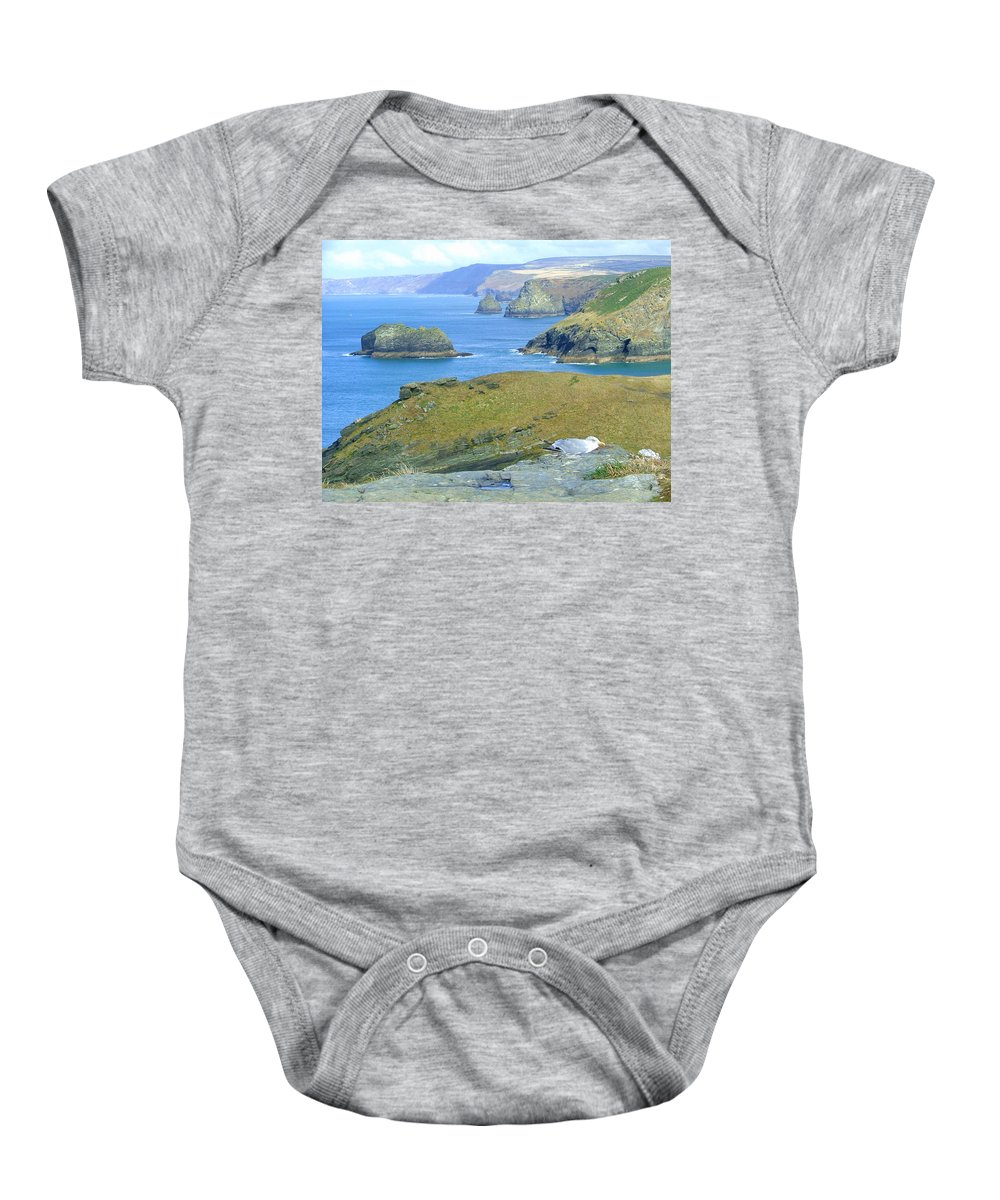 Cornwall Baby Onesie featuring the photograph Tintagel by Heather Lennox