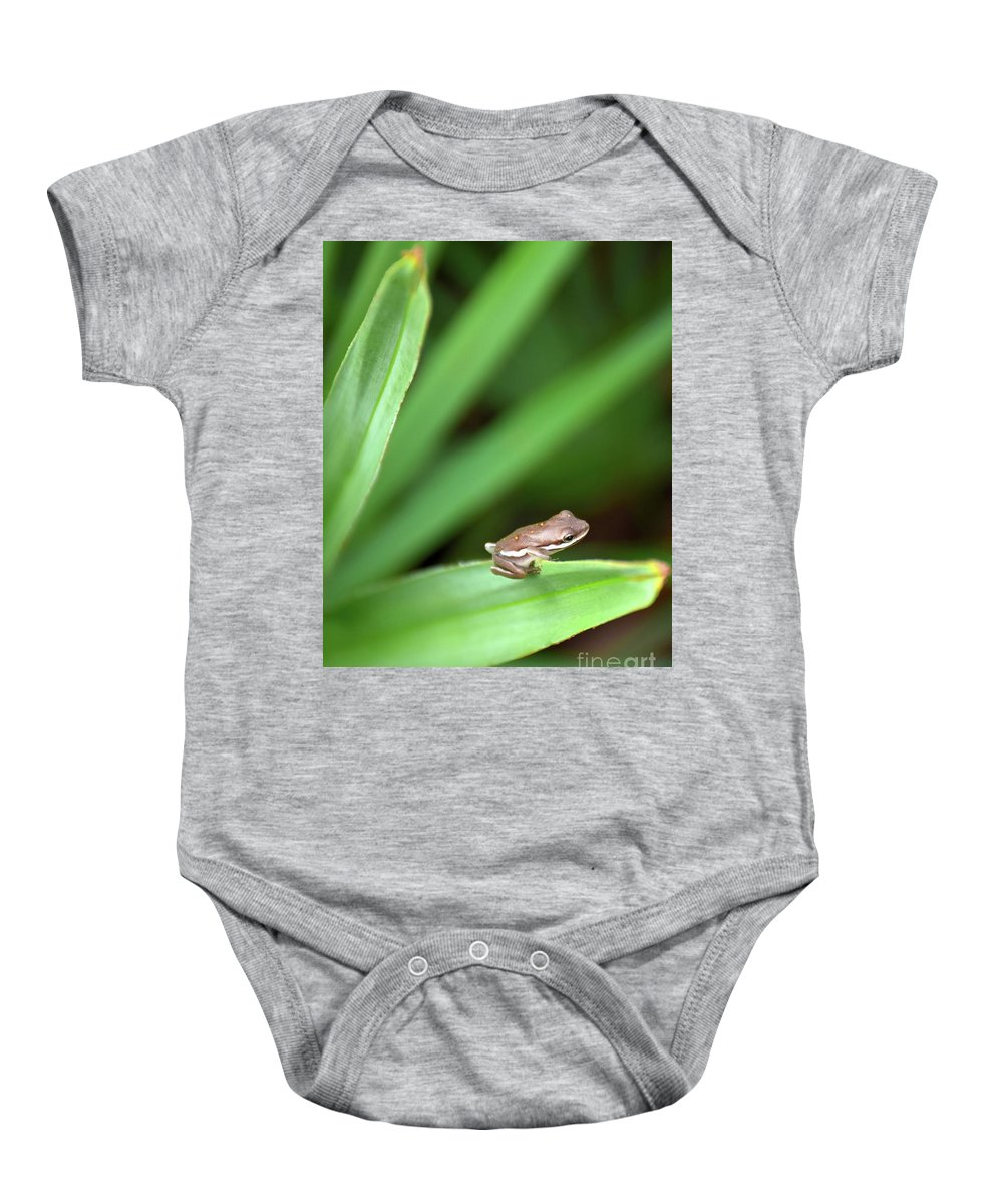Green Frog Baby Onesie featuring the photograph Tiny Tree Frog 01110 by Anna Gibson